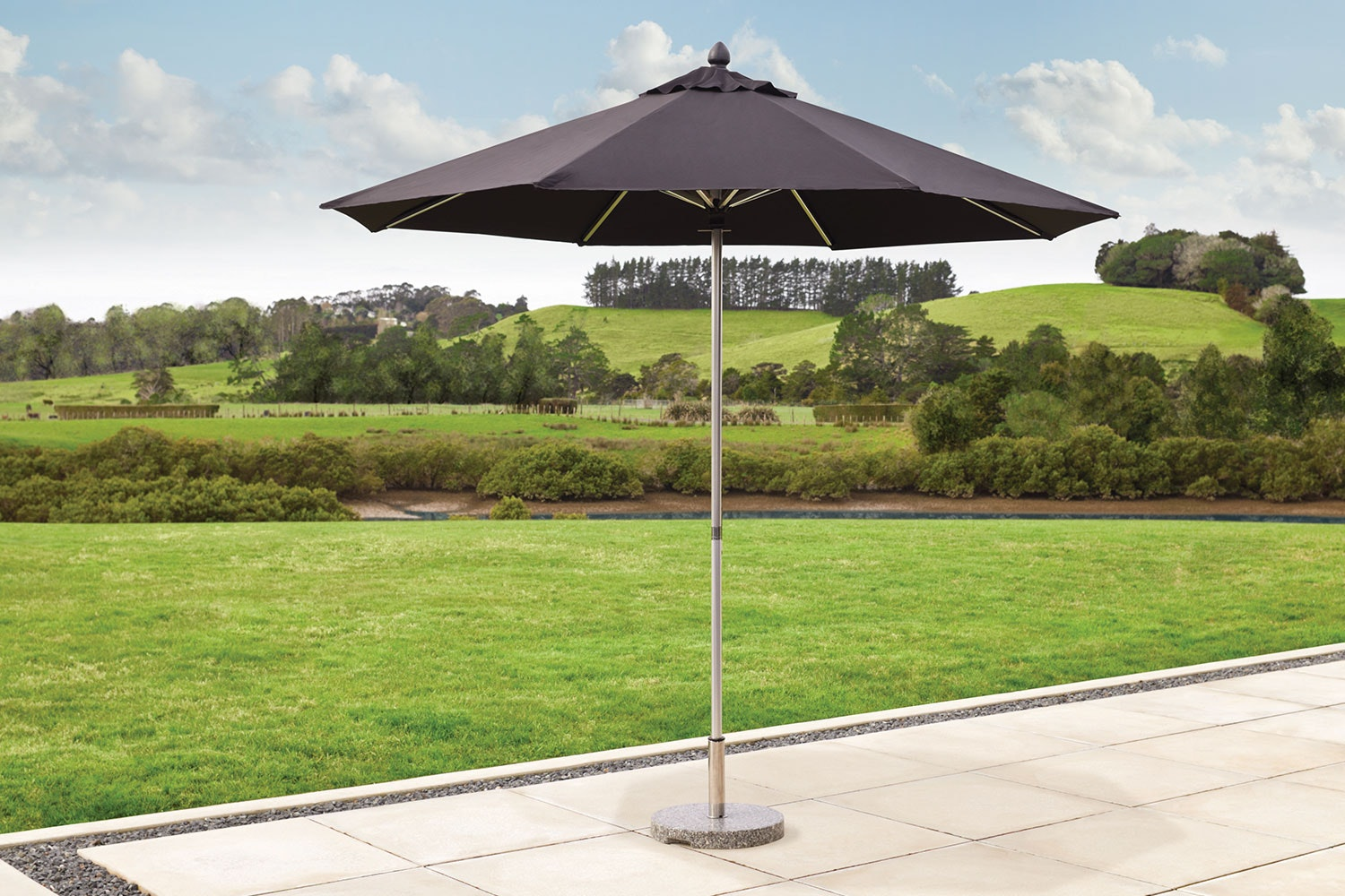 Triton 2.7m Black Outdoor Umbrella with 25kg Granite Base by Preos