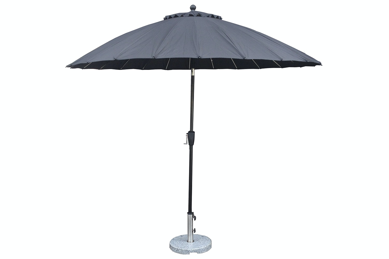 Oriental 2.7m Black Outdoor Umbrella with Base by Peros