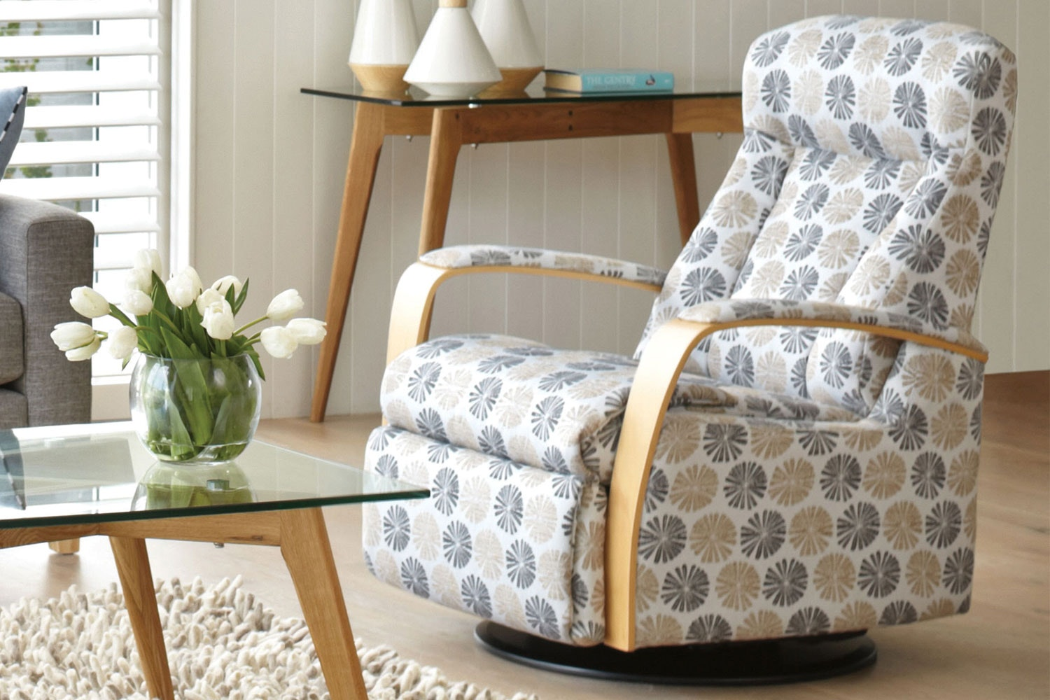 Prince Fabric Recliner With Laminate Arms - Blue / Black - IMG