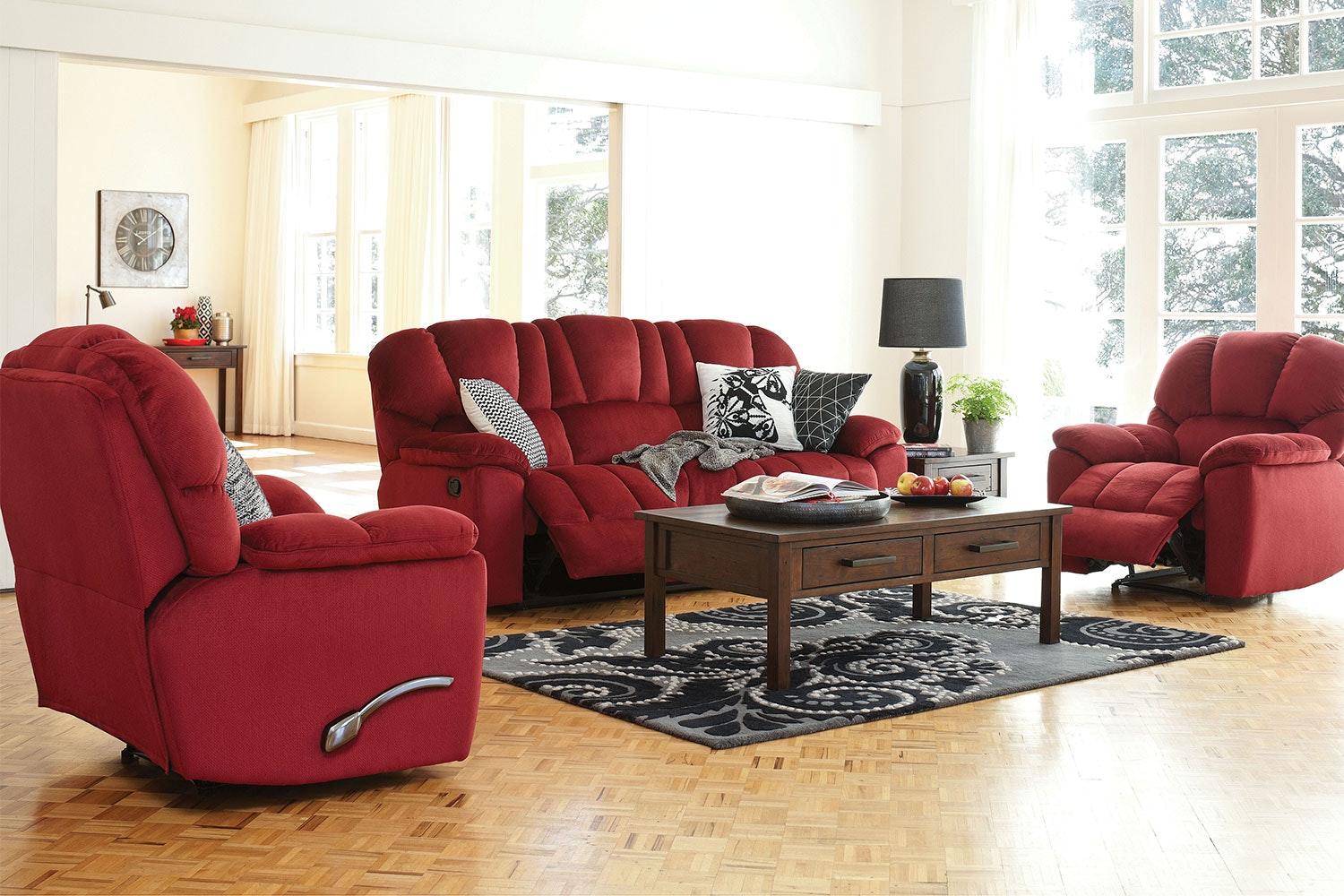 Scottland 3 Piece Fabric Recliner Lounge Suite by John Young Furniture - Bordeaux
