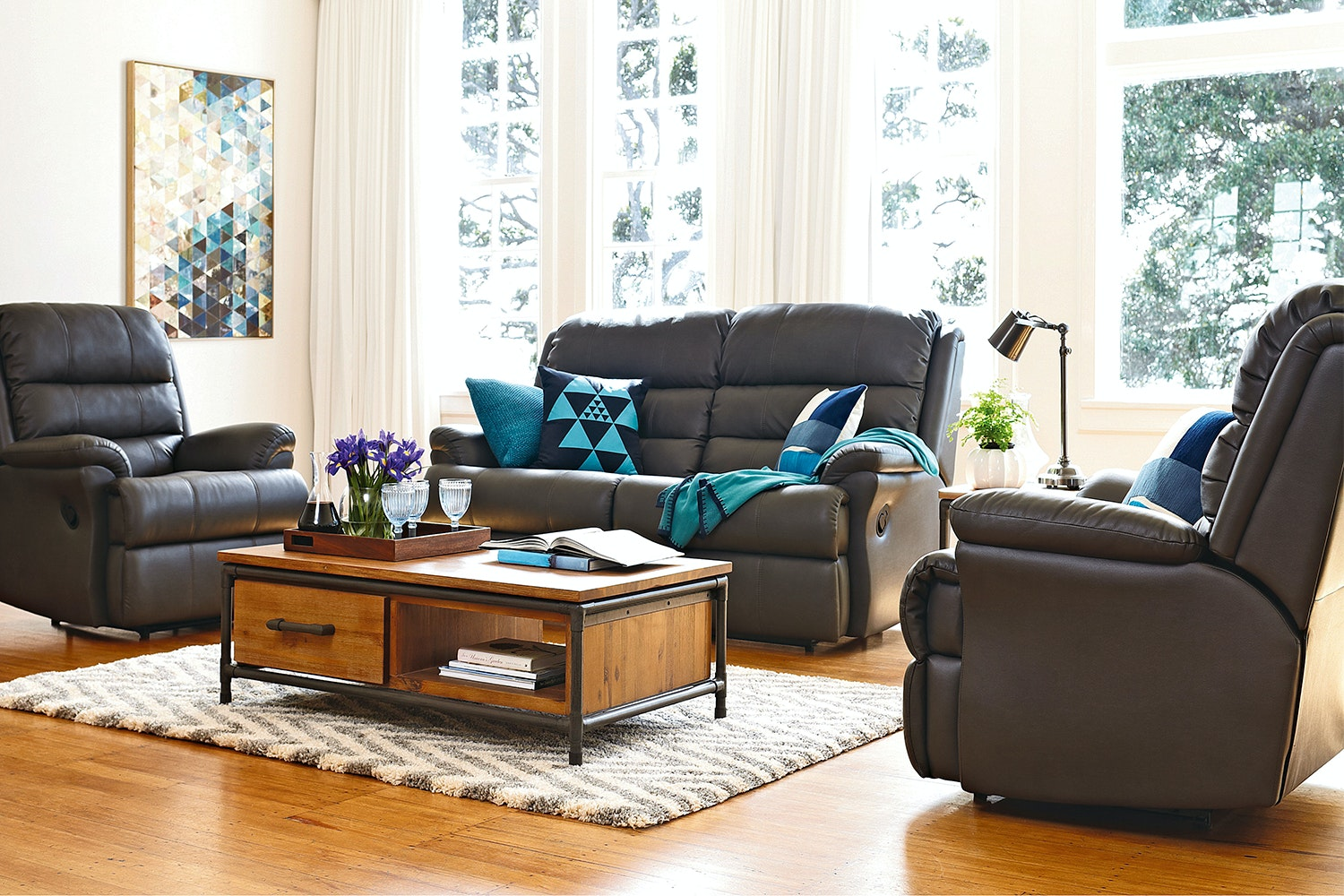 St Clair 3 Piece Fabric Recliner Lounge Suite by Synargy
