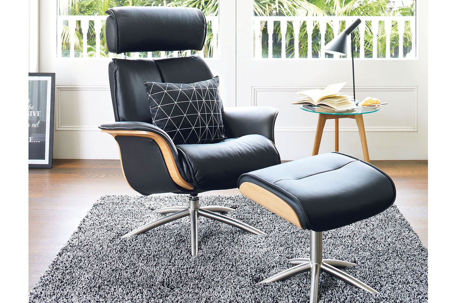 Space Leather Recliner Chair and Footstool - Trend- IMG