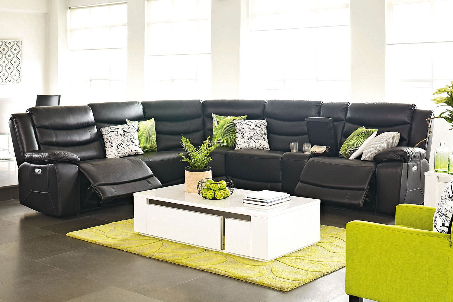 Cairo 5 Seater Leather Corner Lounge Suite By Synargy