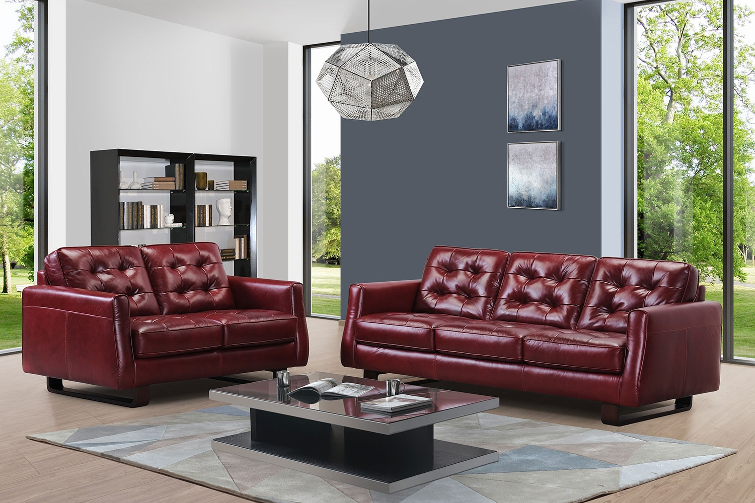 Novara 2 Piece Leather Suite - Debonaire Furniture