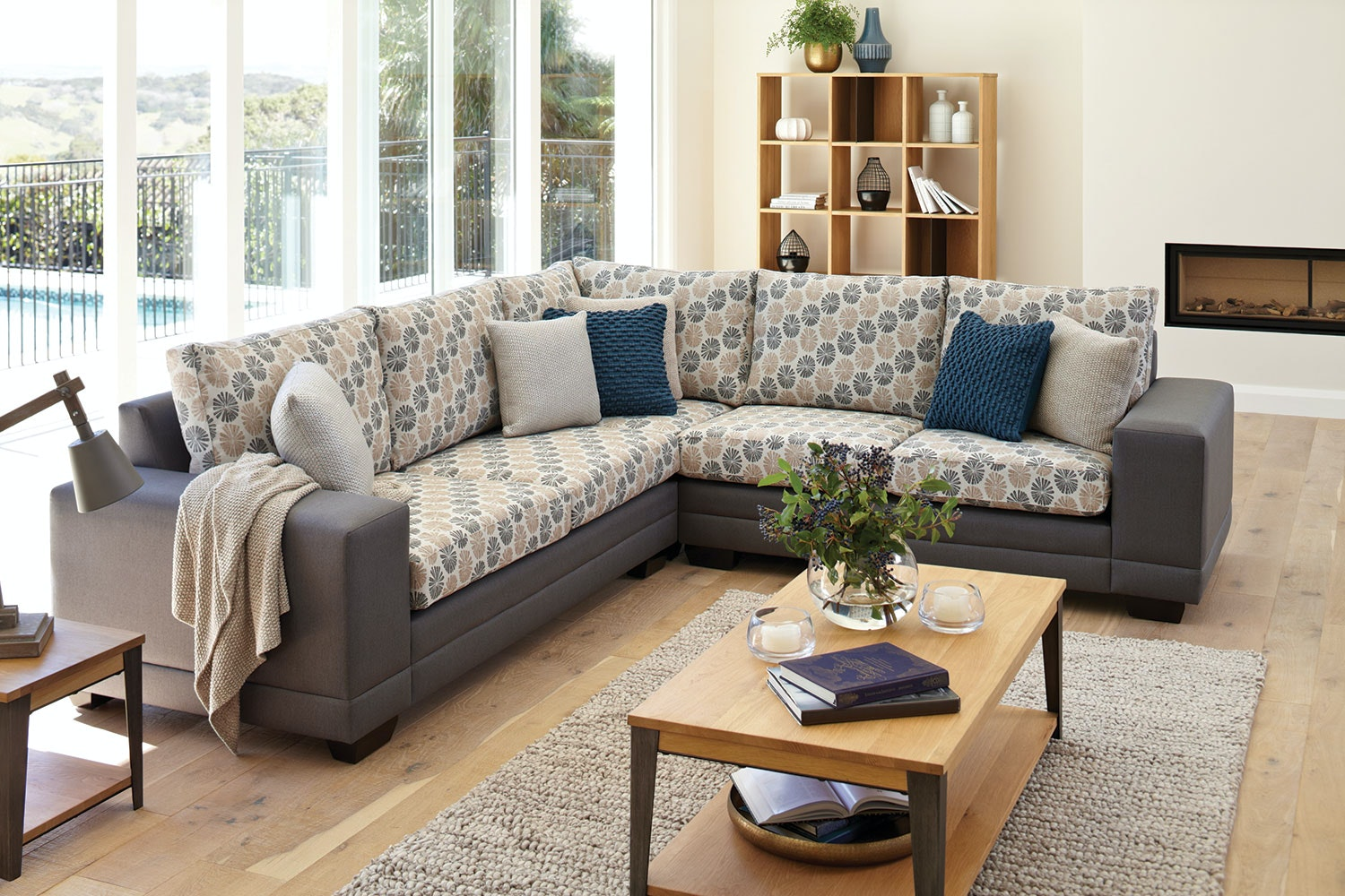 Martini Corner Fabric Lounge Suite With Chaise By