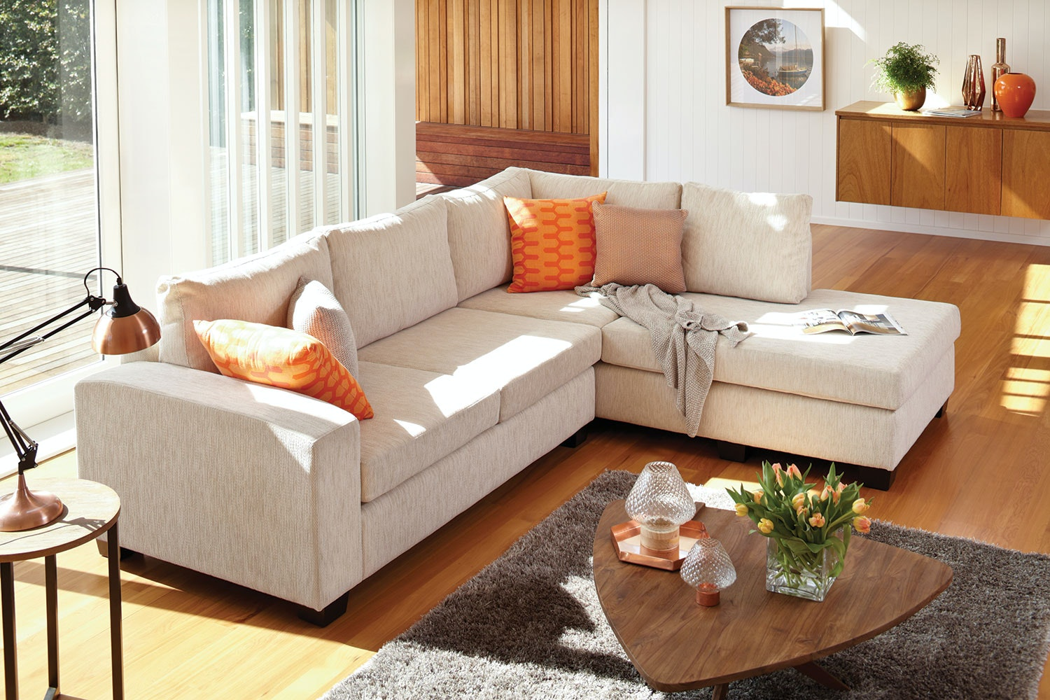 Weymouth 4-Seater Fabric Chaise Sofa : harvey norman chaise - Sectionals, Sofas & Couches