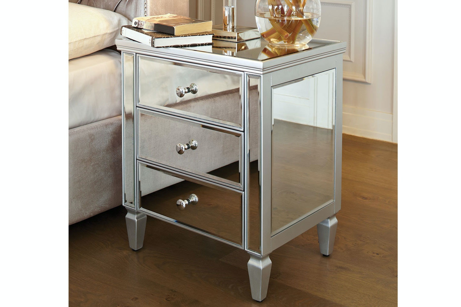 Picture of: Mirano 3 Drawer Silver Bedside Table By Nero Furniture Harvey Norman New Zealand