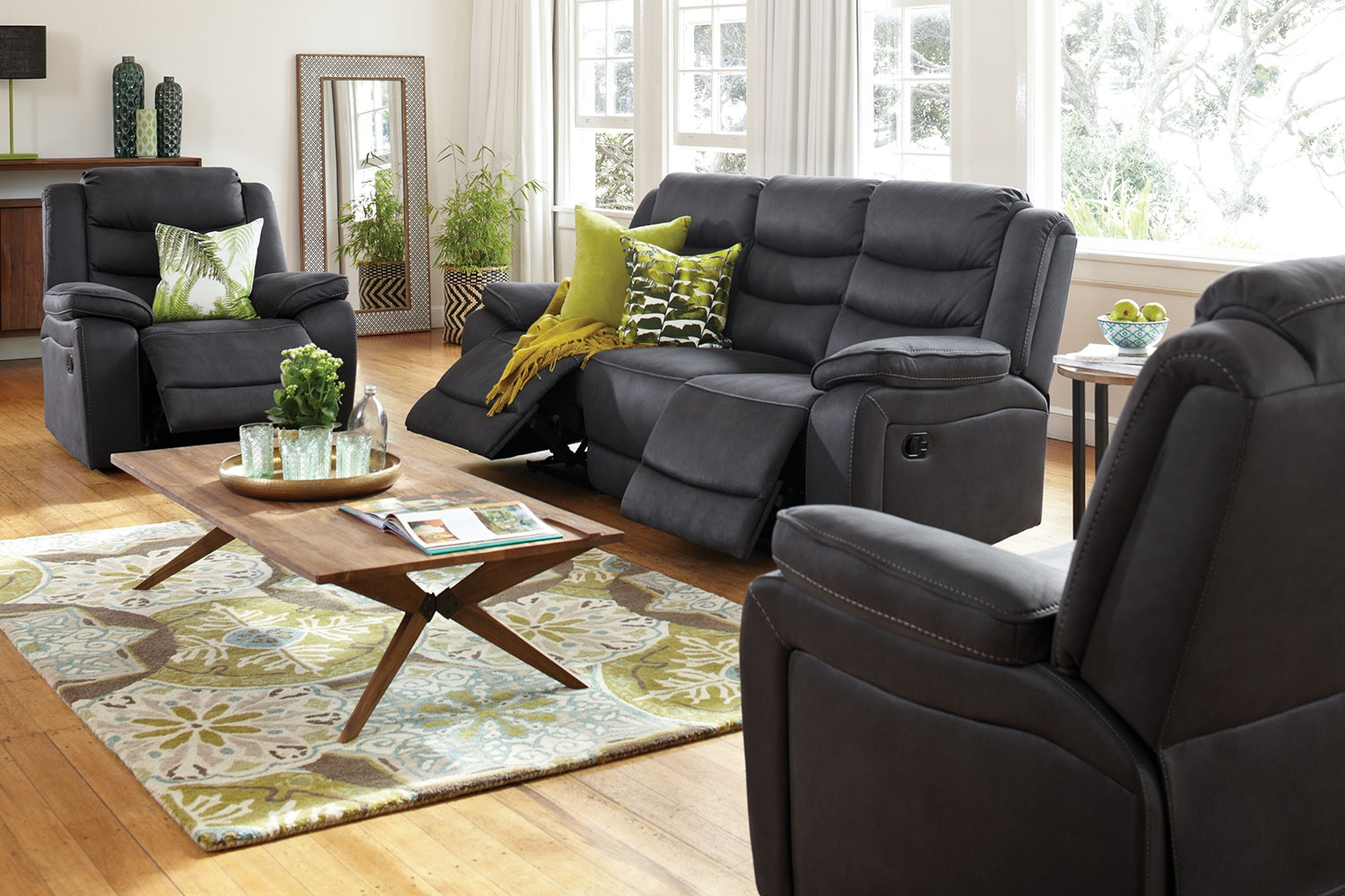 Tyler 3 Piece Fabric Recliner Lounge Suite