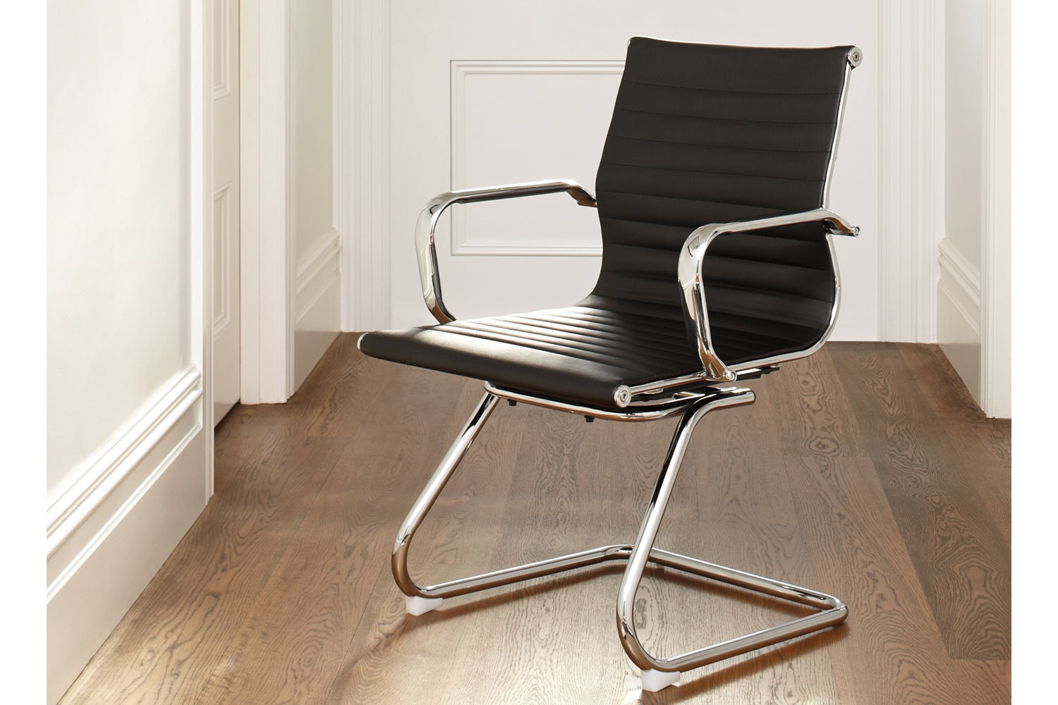Line Office Chair - Black with fixed loop leg