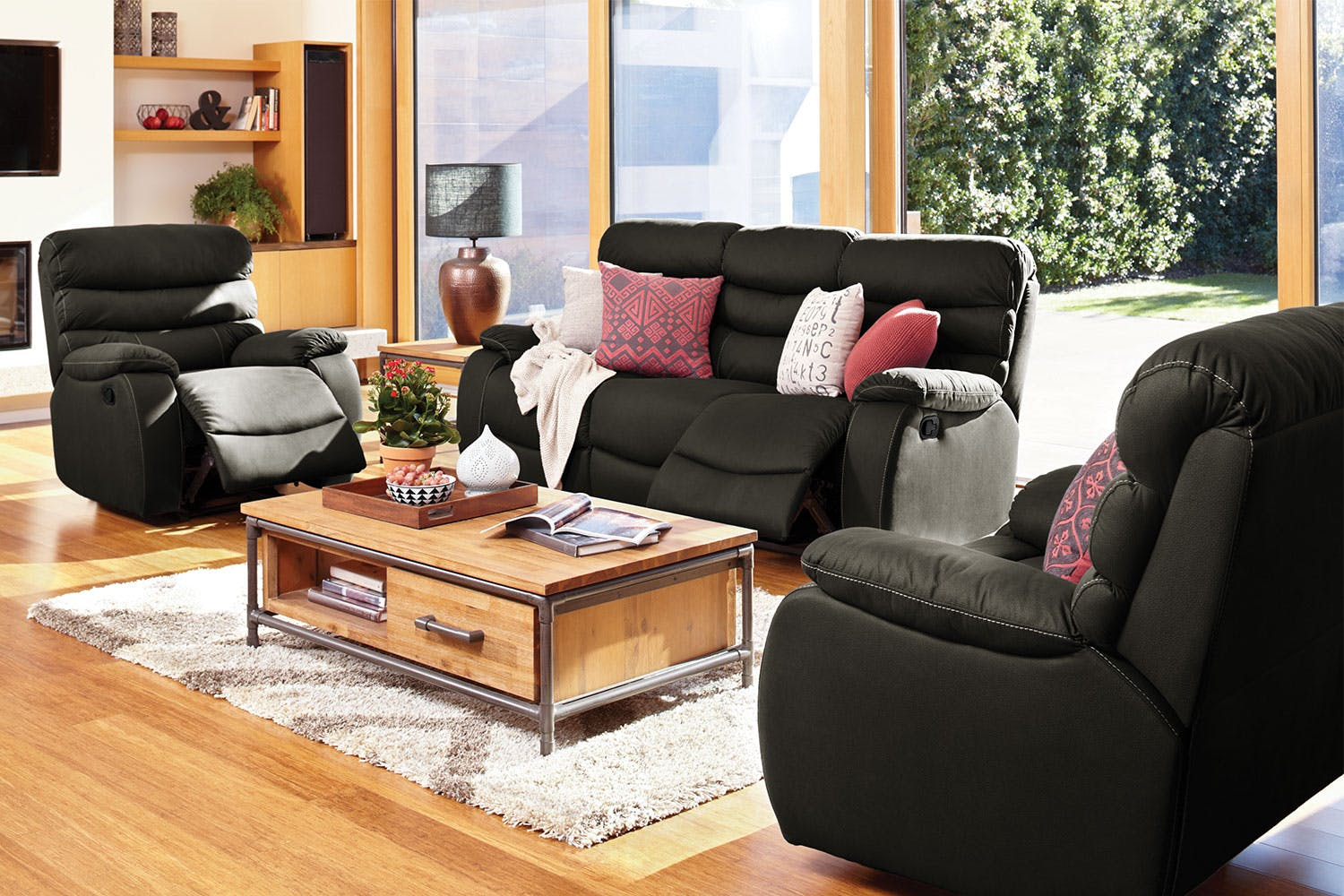 Image of Fletcher 3 Piece Fabric Recliner Lounge Suite by John Young Furniture