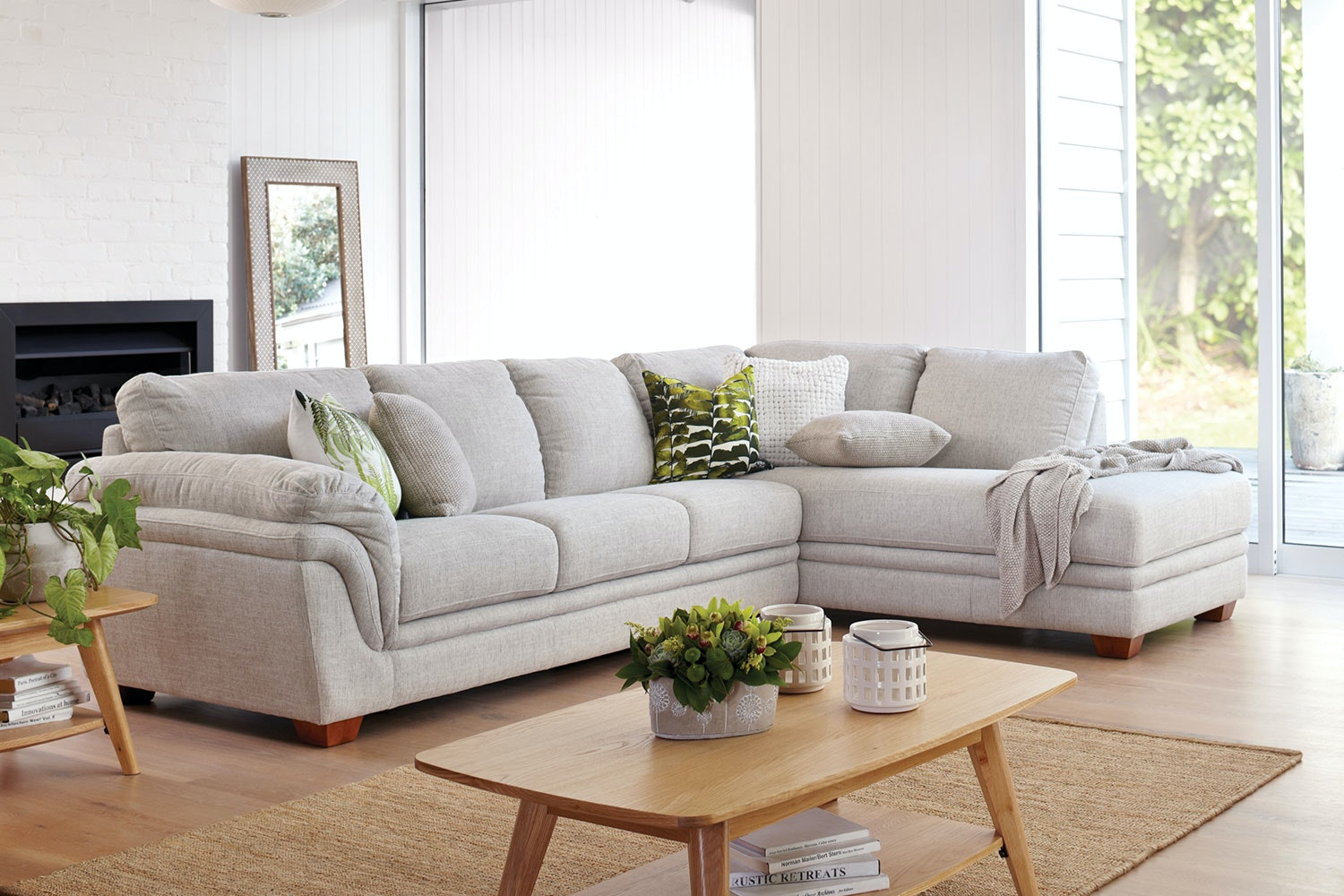 Demi 3 Seater Fabric Lounge with Chaise by La-Z-Boy : Harvey Norman New Zealand