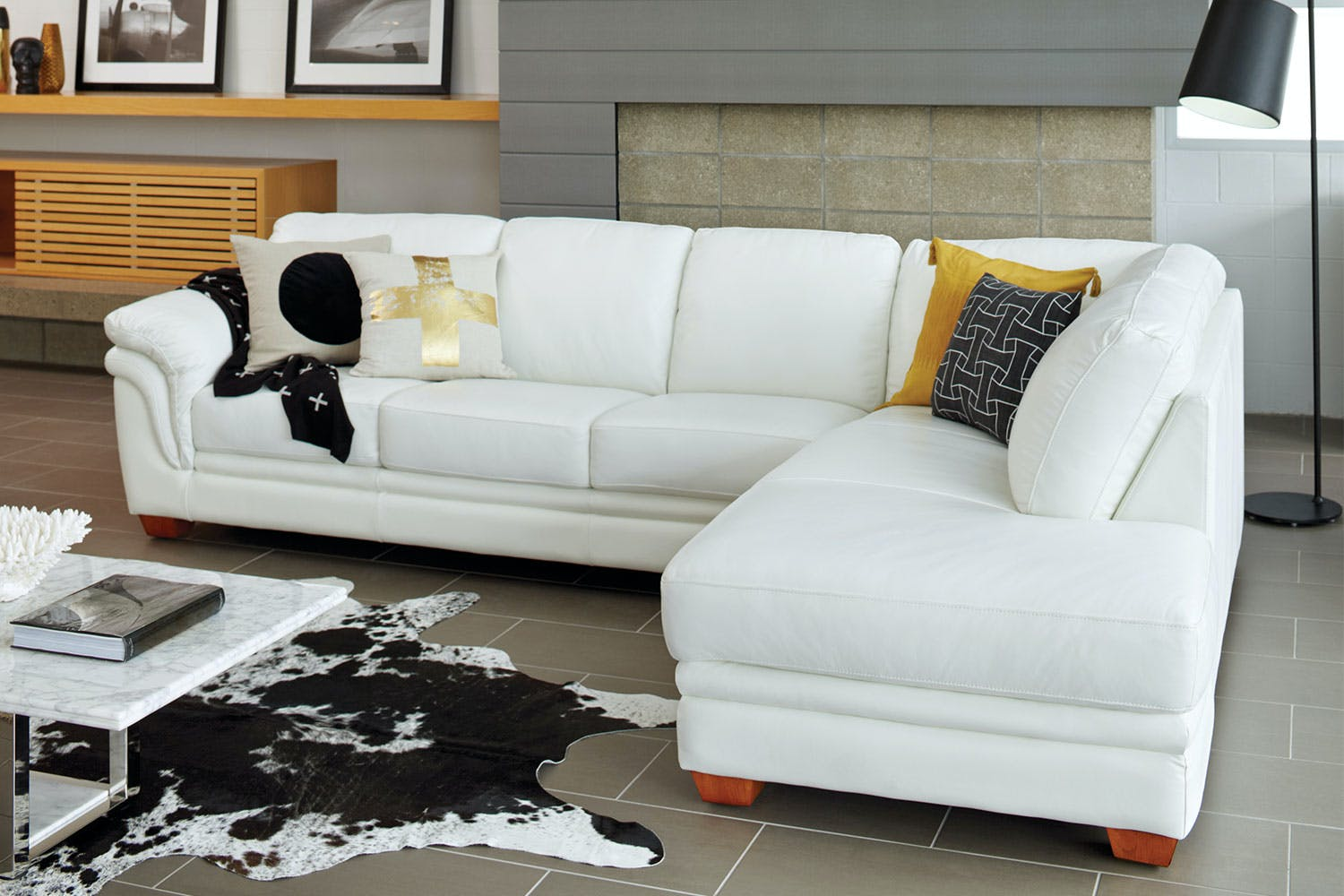Demi 3 Seater Leather Lounge with Chaise by La-Z-Boy