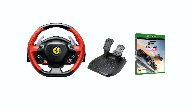 xbox one - thrustmaster ferrari 458 spider racing wheel + forza