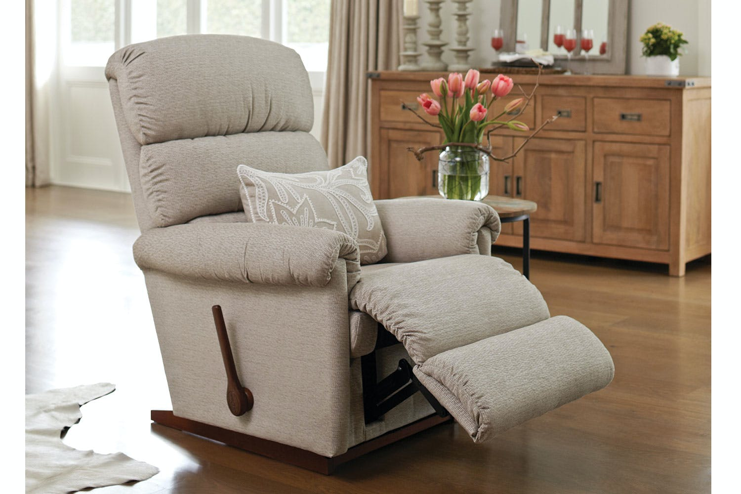 Rialto fabric recliner chair by la z boy harvey norman for Boys lounge chair