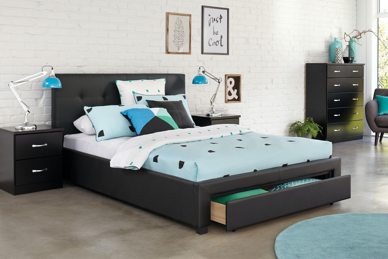 Stockholm Queen Storage Bed Frame with Dominic Bedsides and Tallboy | Harvey Norman New Zealand & Stockholm Queen Storage Bed Frame with Dominic Bedsides and Tallboy ...