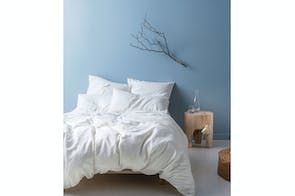 Nimes Linen White Duvet Cover Set by Savona