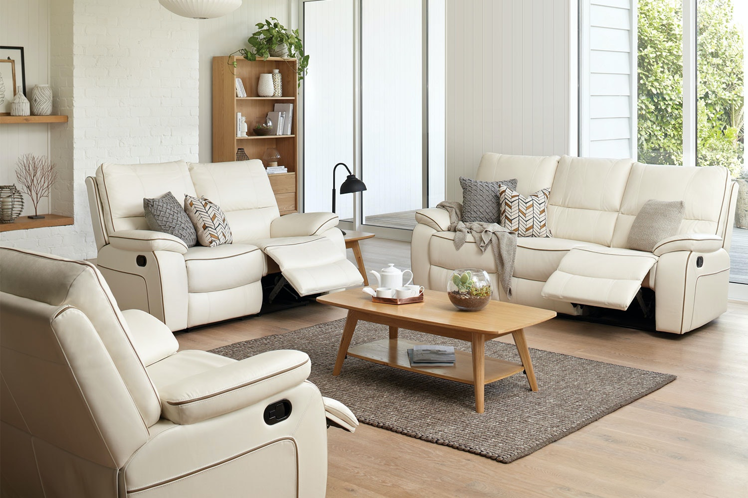 Strata 3 Piece Leather Recliner Lounge Suite by Synargy