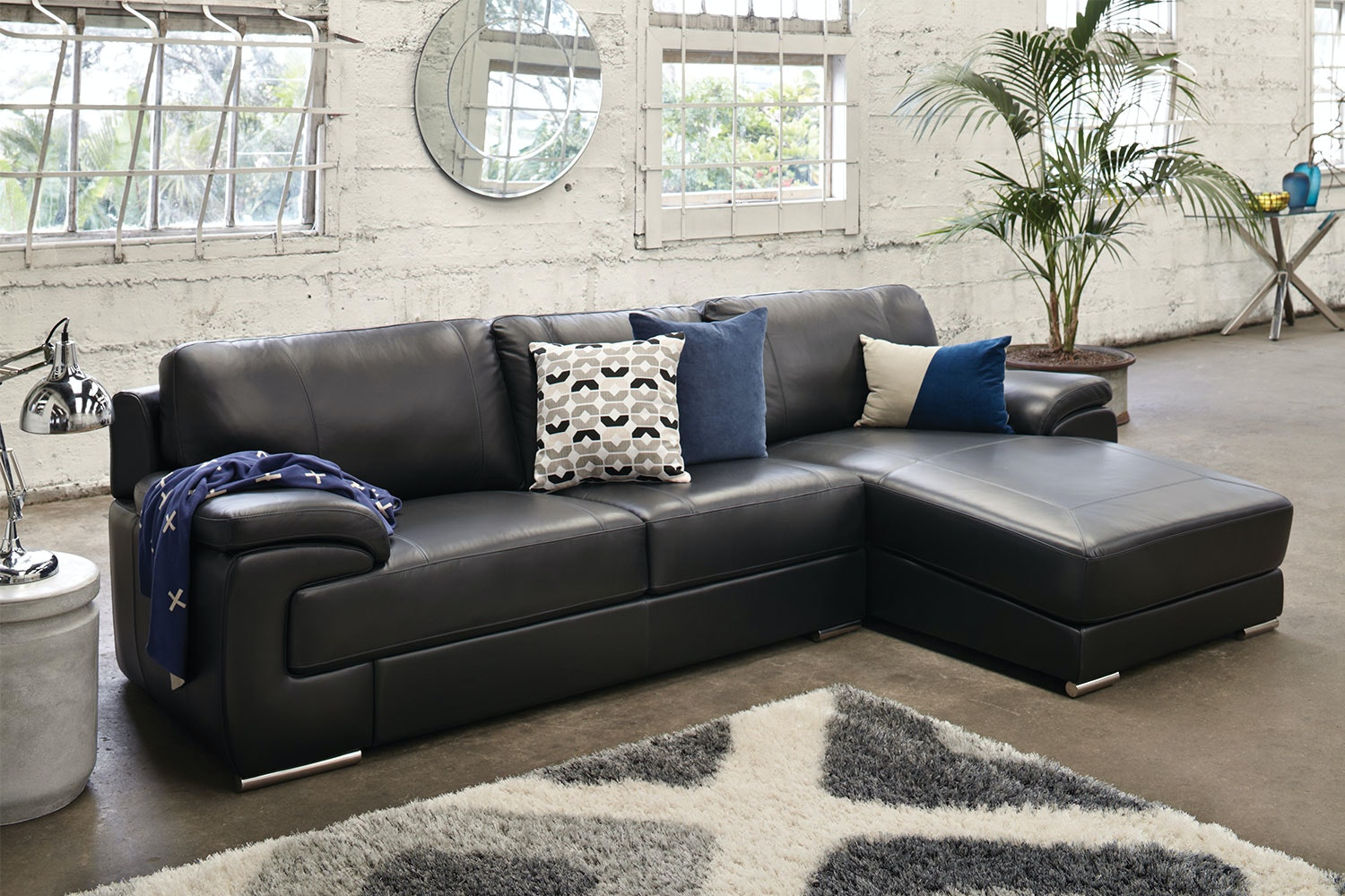 Titus 3 Seater Leather Sofa With Chaise Part 38