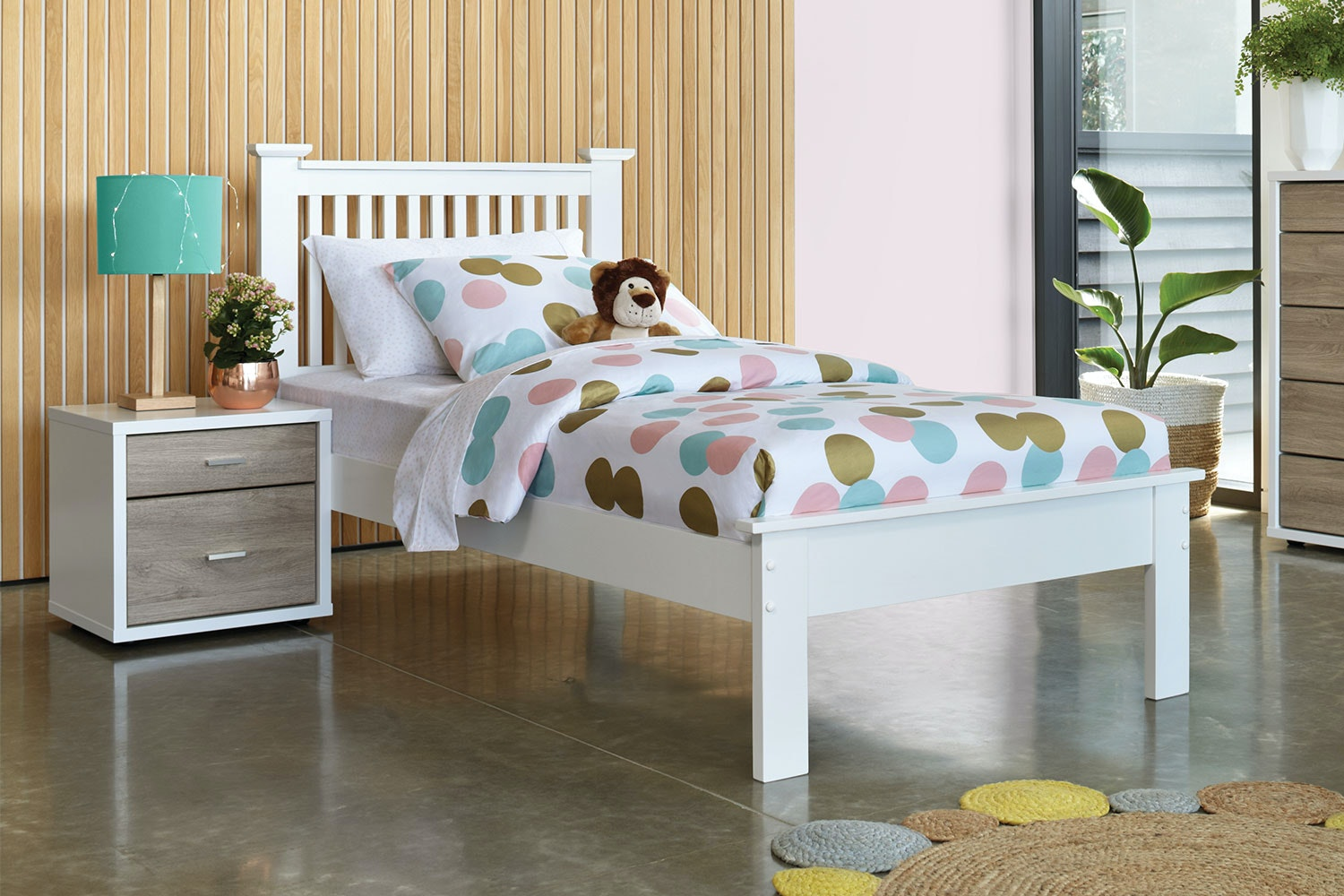 White Aston King Single Bed Frame by Nero Furniture