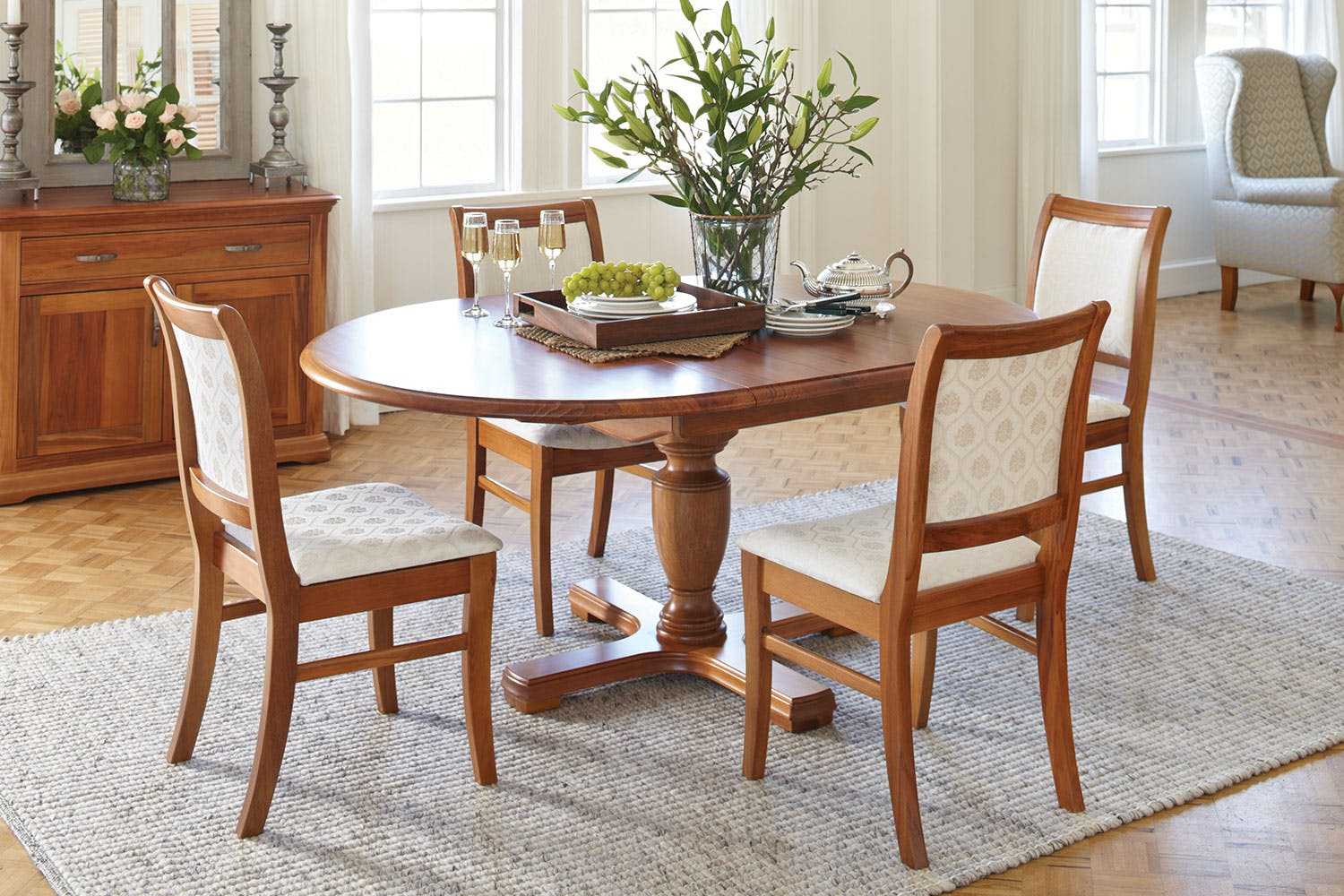 opera round dining table by sorensen furniture harvey