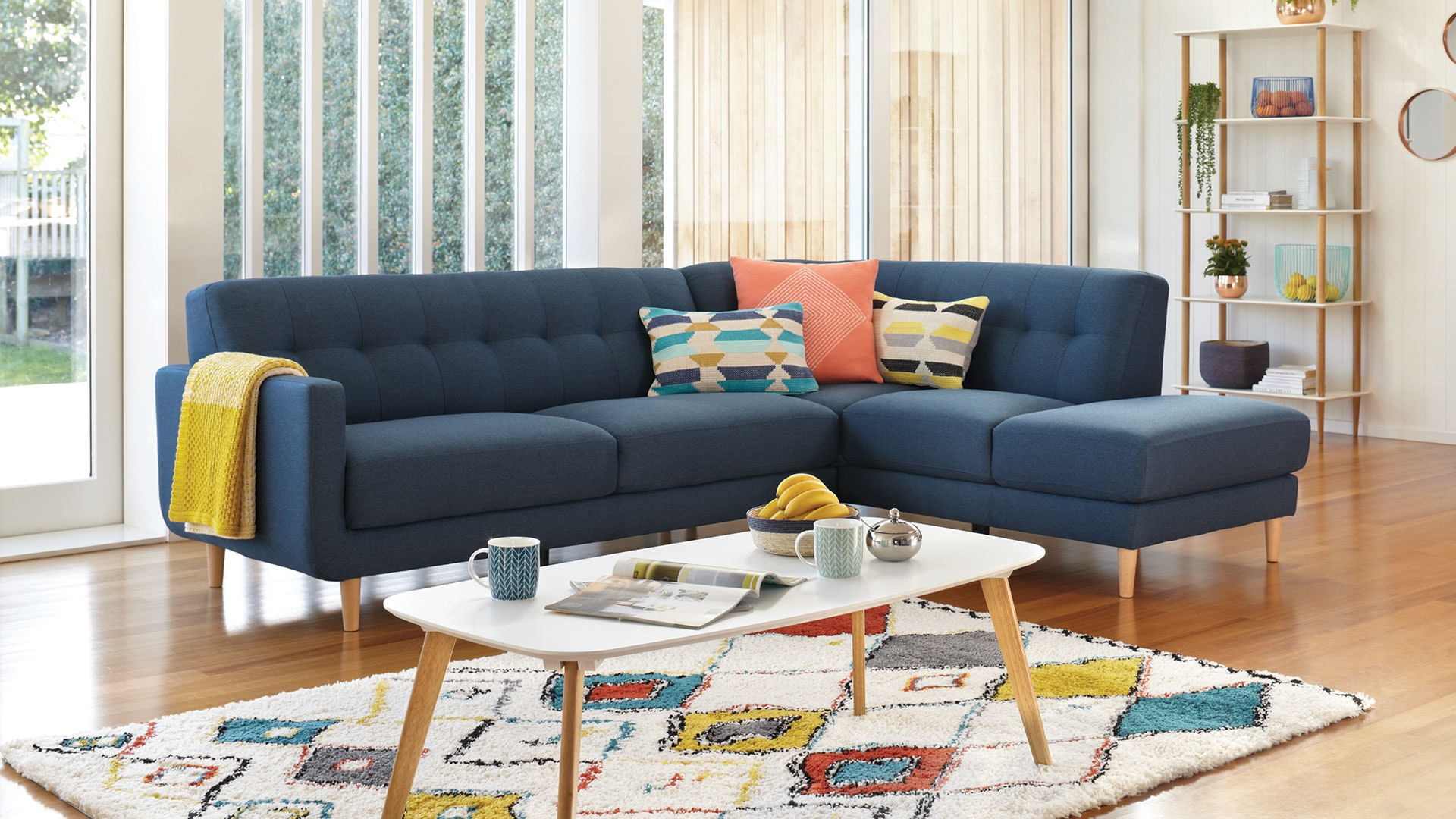 Hogan 3 Seater Fabric Sofa With Chaise ...