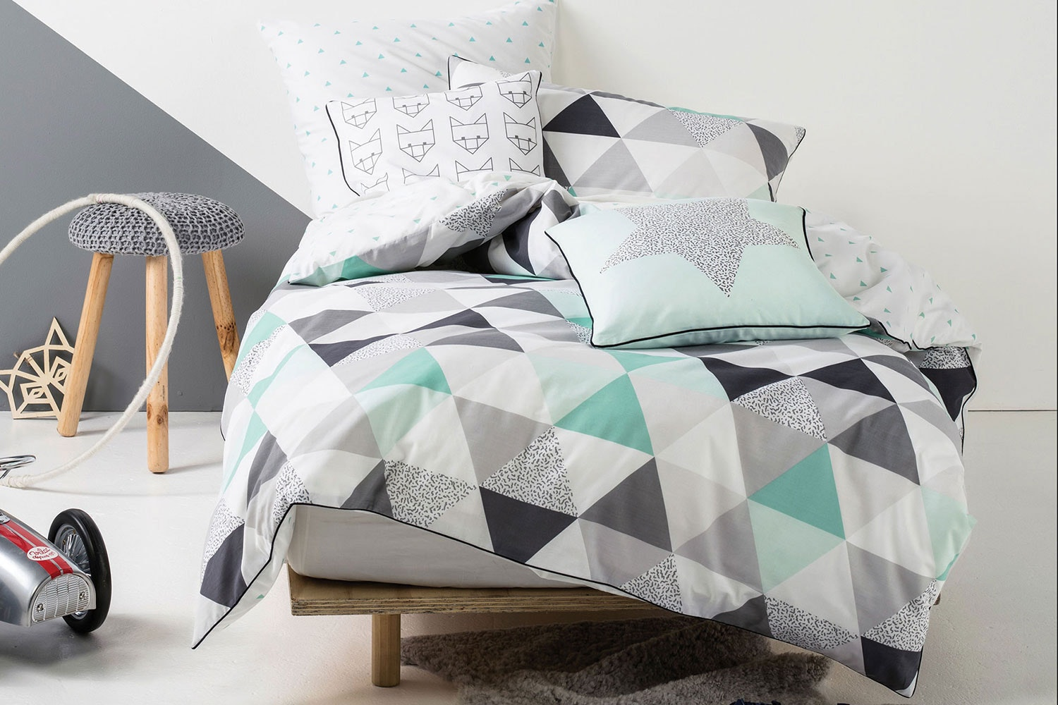Astrid Mint Quilted Duvet Cover Set by Squiggles