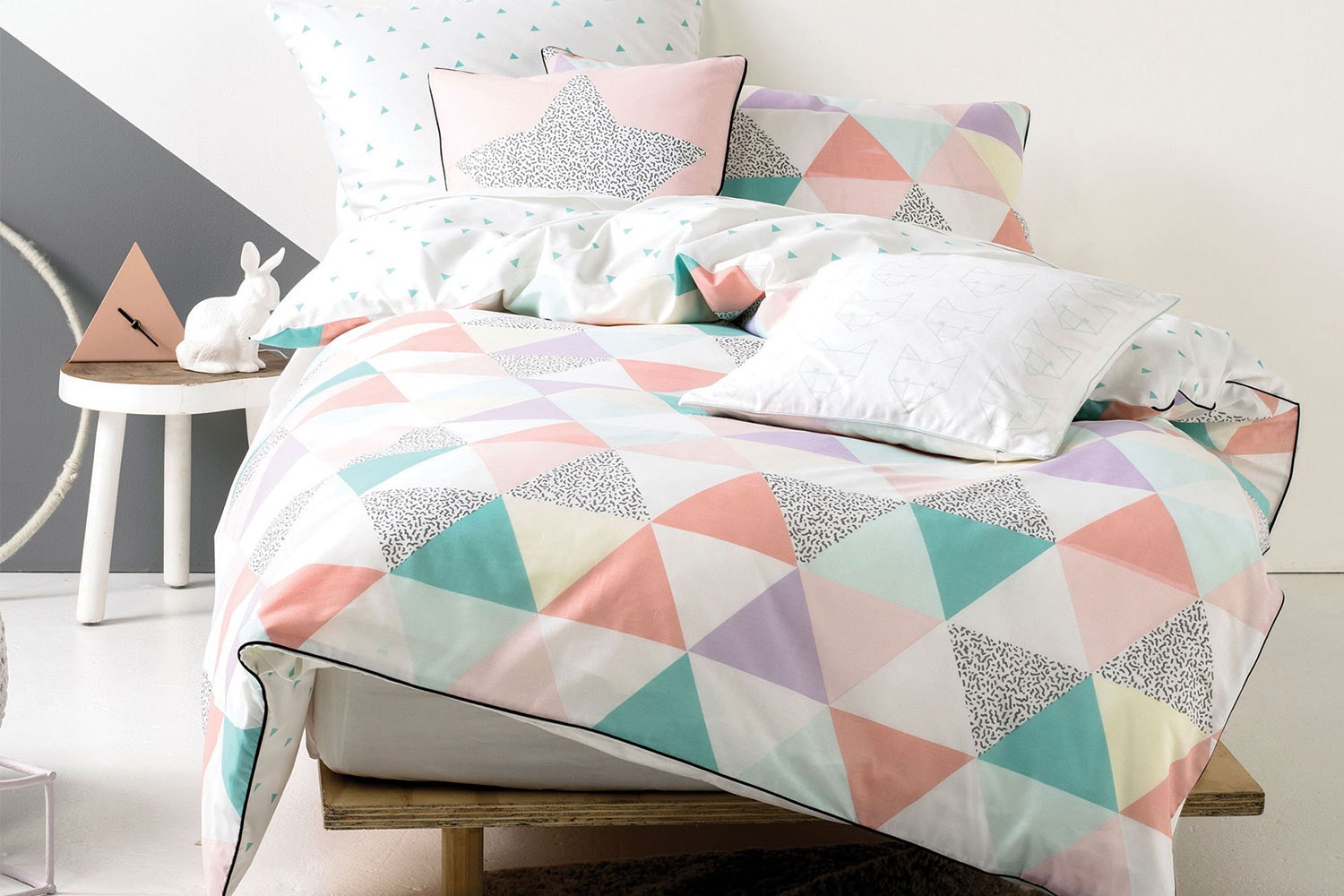 Astrid Pastel Quilted Duvet Cover Set by Squiggles