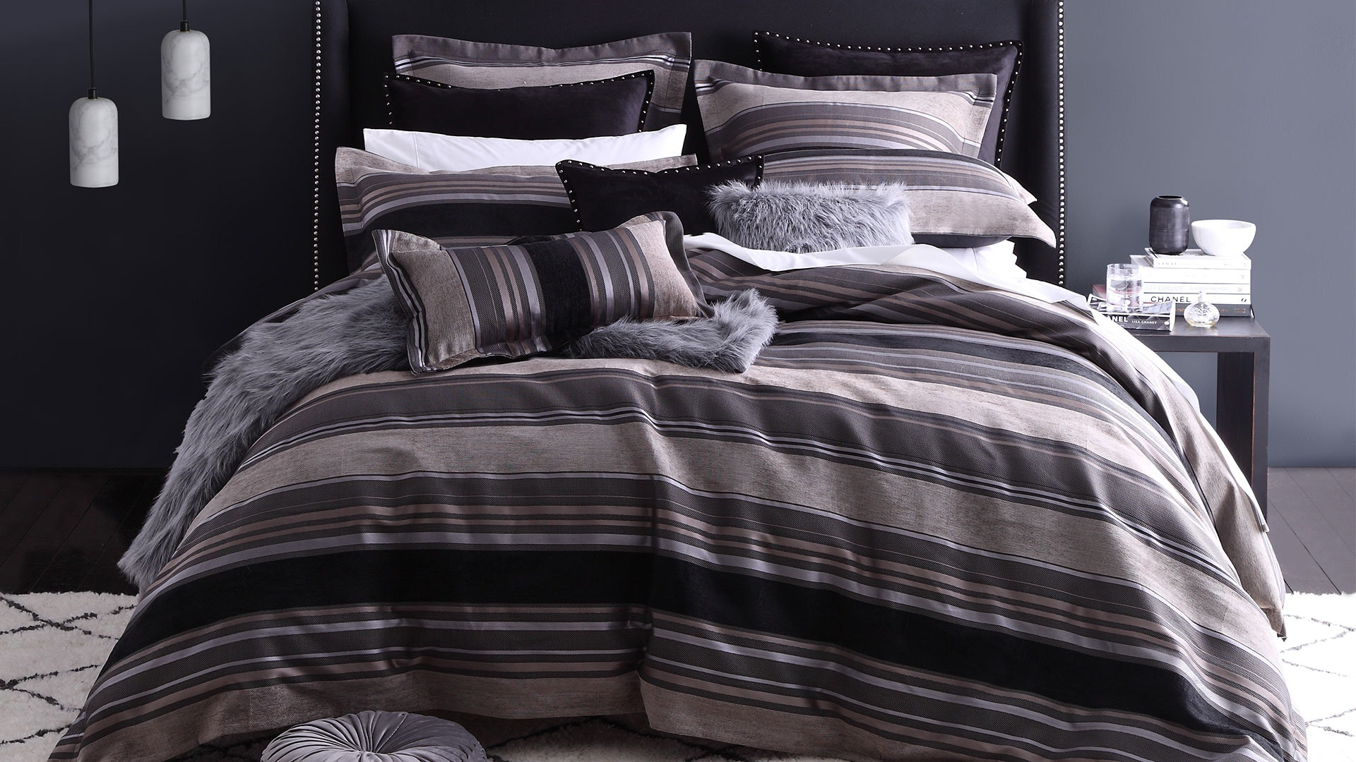 Jett Charcoal Duvet Cover Set by Private Collection