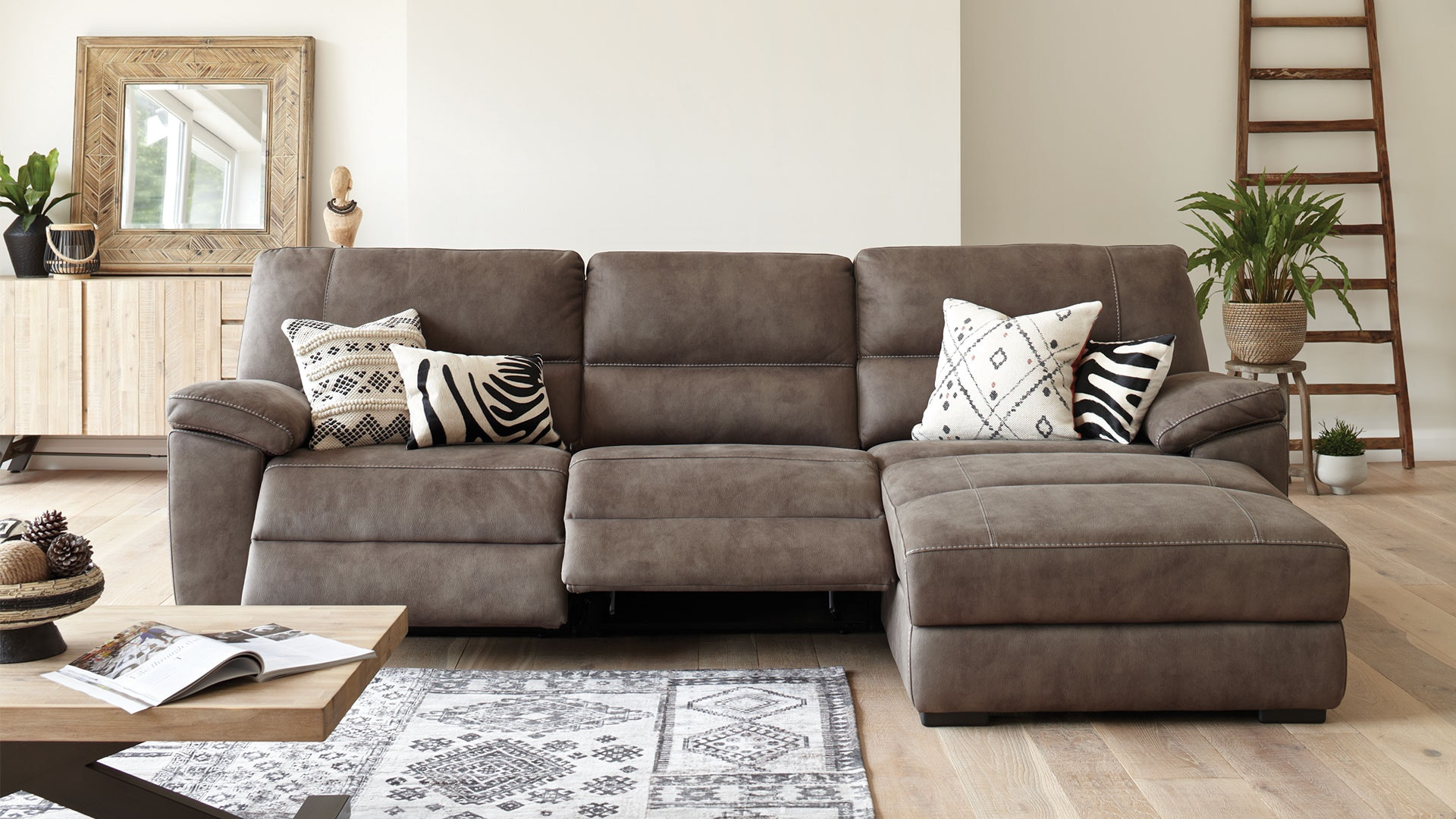 jenson 2 5 seater fabric recliner sofa with chaise by synargy rh harveynorman co nz chaise recliner sofa bed electric recliner chaise sofa