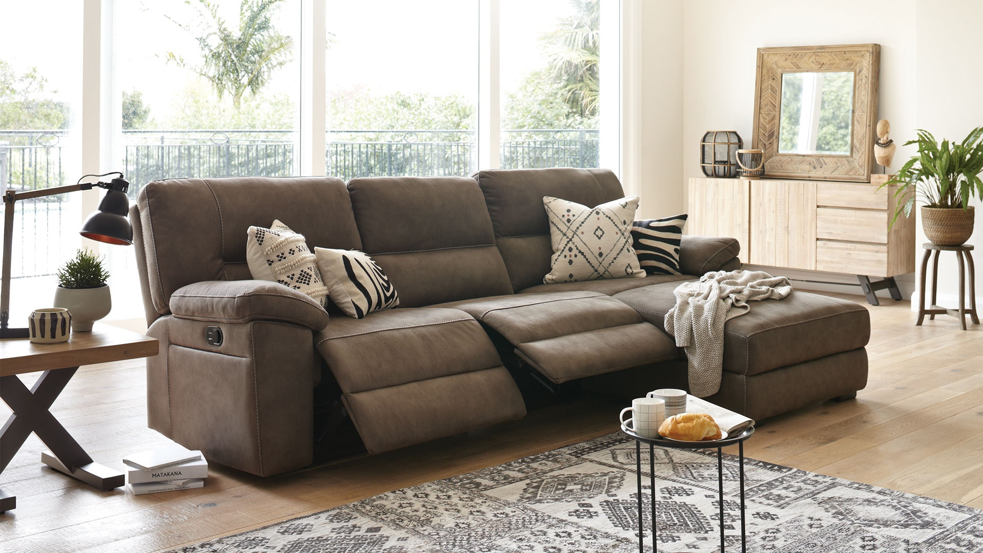Jenson 3 Seater Fabric Recliner Sofa with Chaise by Synargy
