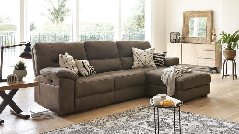 Jenson 3 Seater Fabric Recliner Sofa With Chaise By
