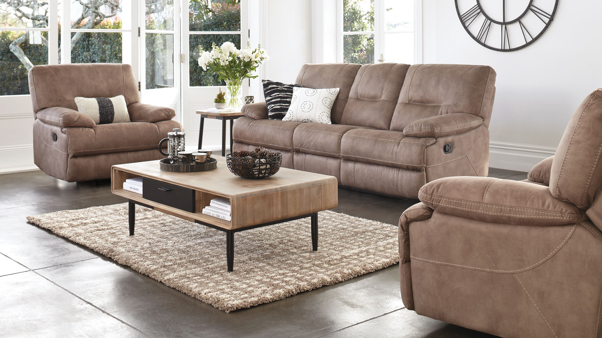 Dorset 3 Piece Fabric Recliner Lounge Suite