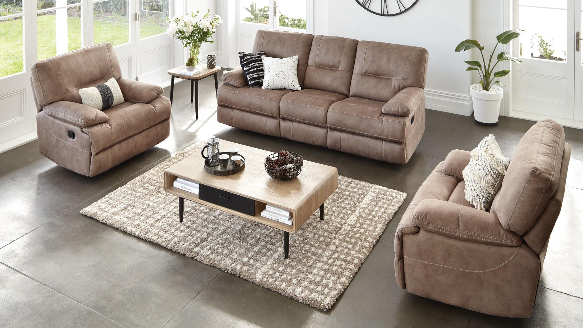 Dorset 3 Piece Fabric Recliner Lounge Suite