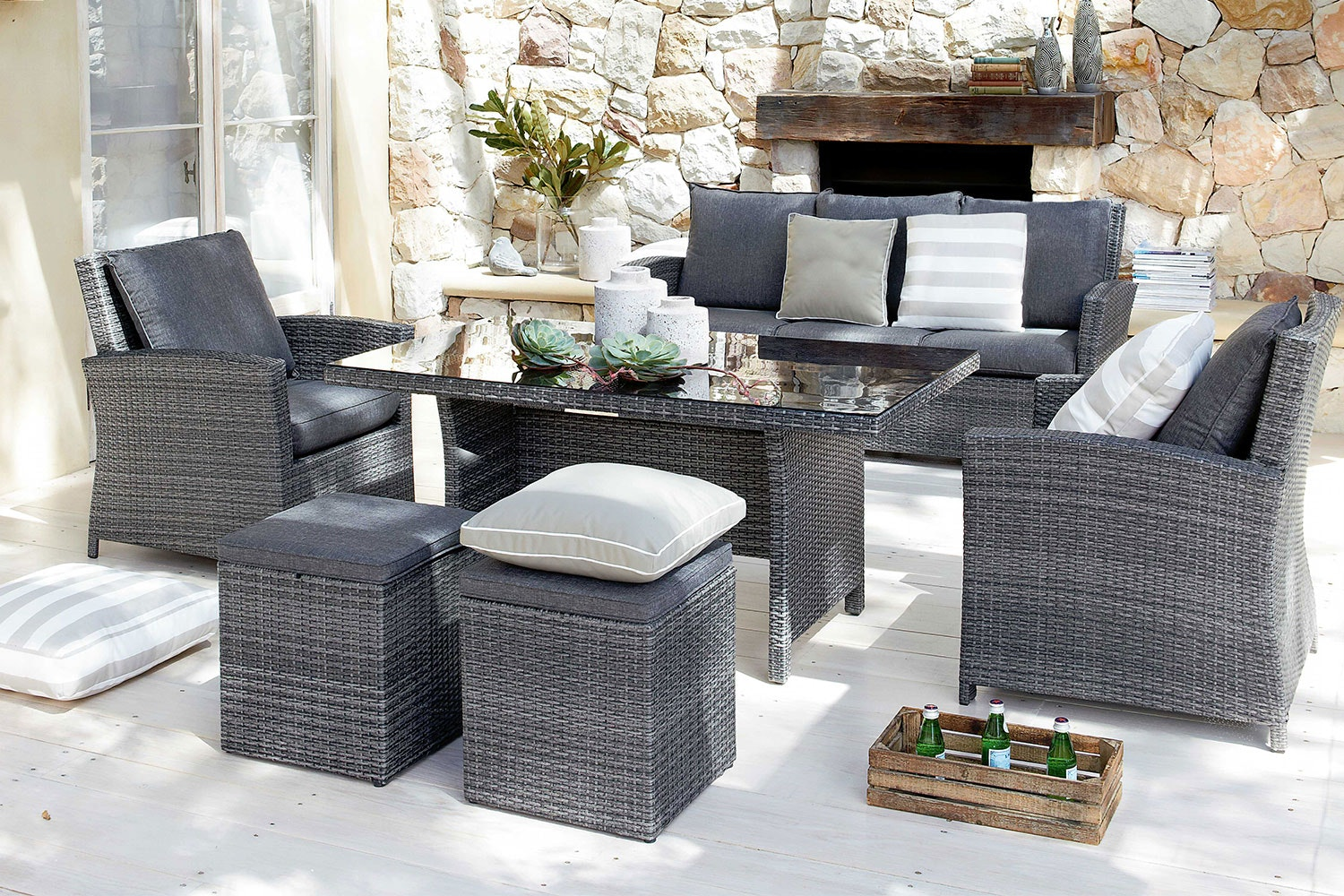 Malibu 6 Piece Outdoor Low Dining Setting