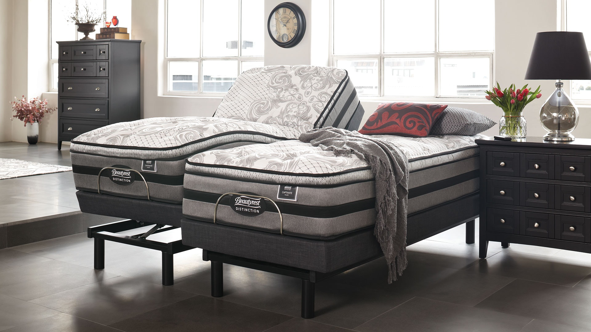 Beautyrest Captivate Plush Split Super King Mattress with Lifestyle Adjustable Base by Tempur
