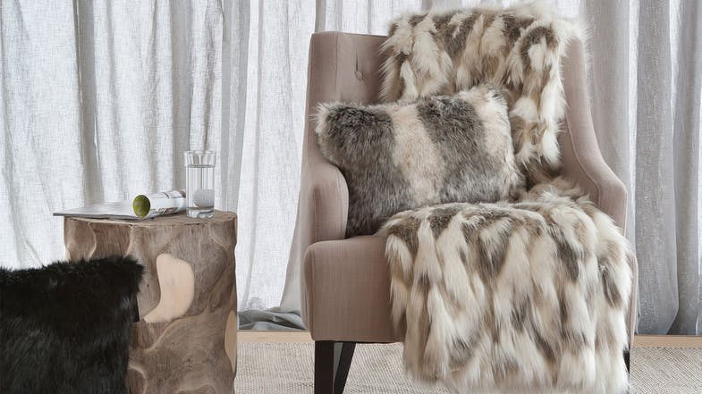 Faux Fur Throw Range by Heirloom - Snowshoe Hare