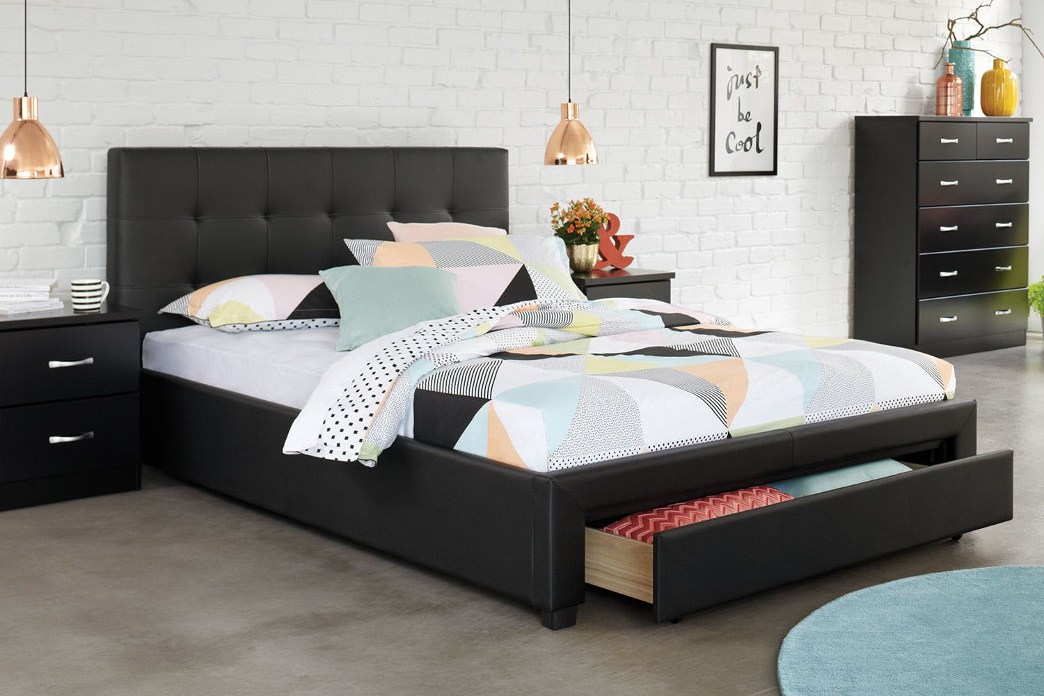 Stockholm Queen Storage Bed Frame by Nero Furniture | Harvey Norman ...