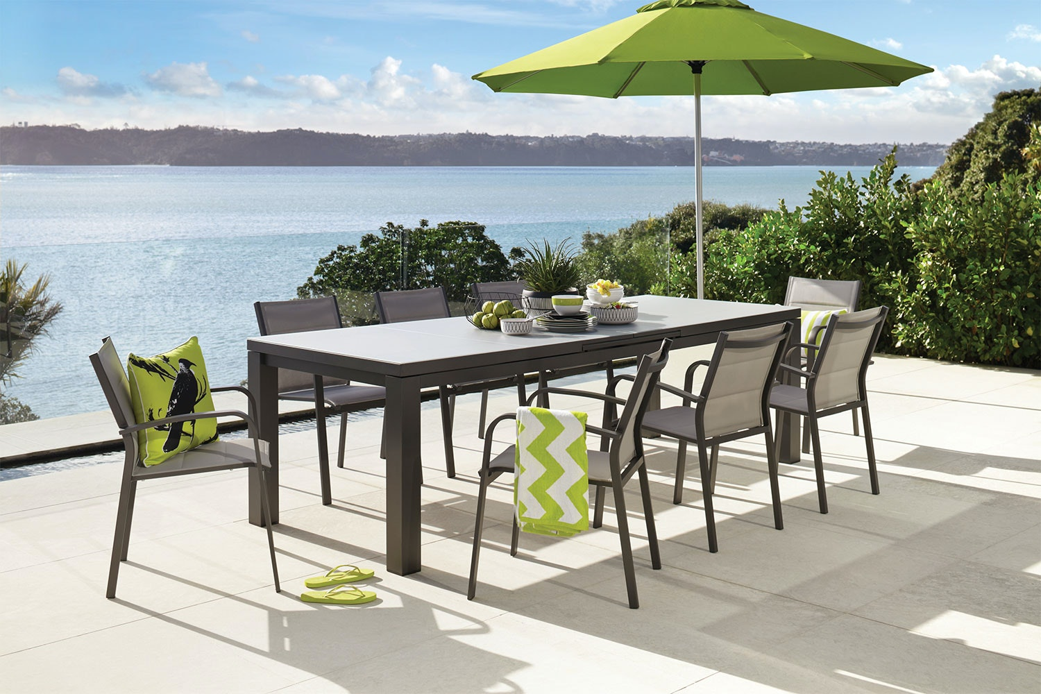 Superior Fiji 9 Piece Outdoor Extension Dining Setting ... Part 6