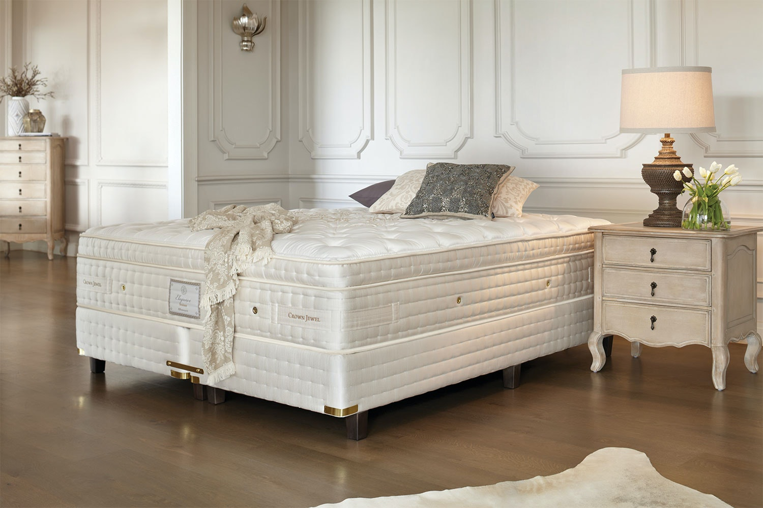 beds with mattress included bordeaux plush king bed by crown harvey 14499