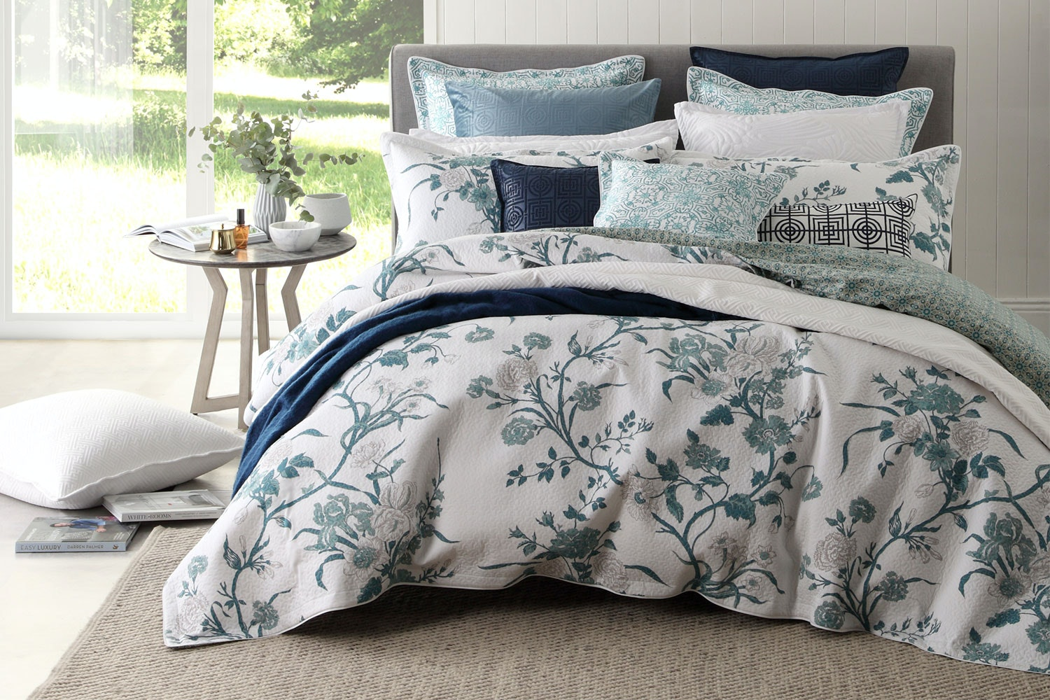 Carnation Jade Duvet Cover Set by Florence Broadhurst