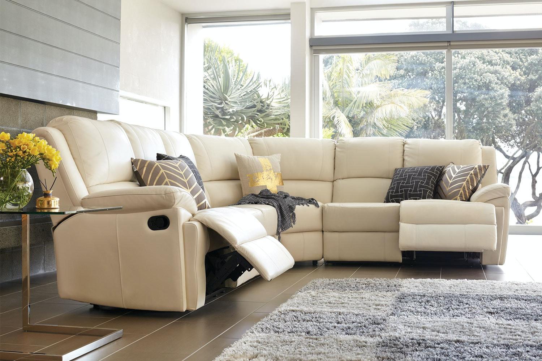 Janus 6 Seater Leather Corner Lounge Suite Harvey Norman New