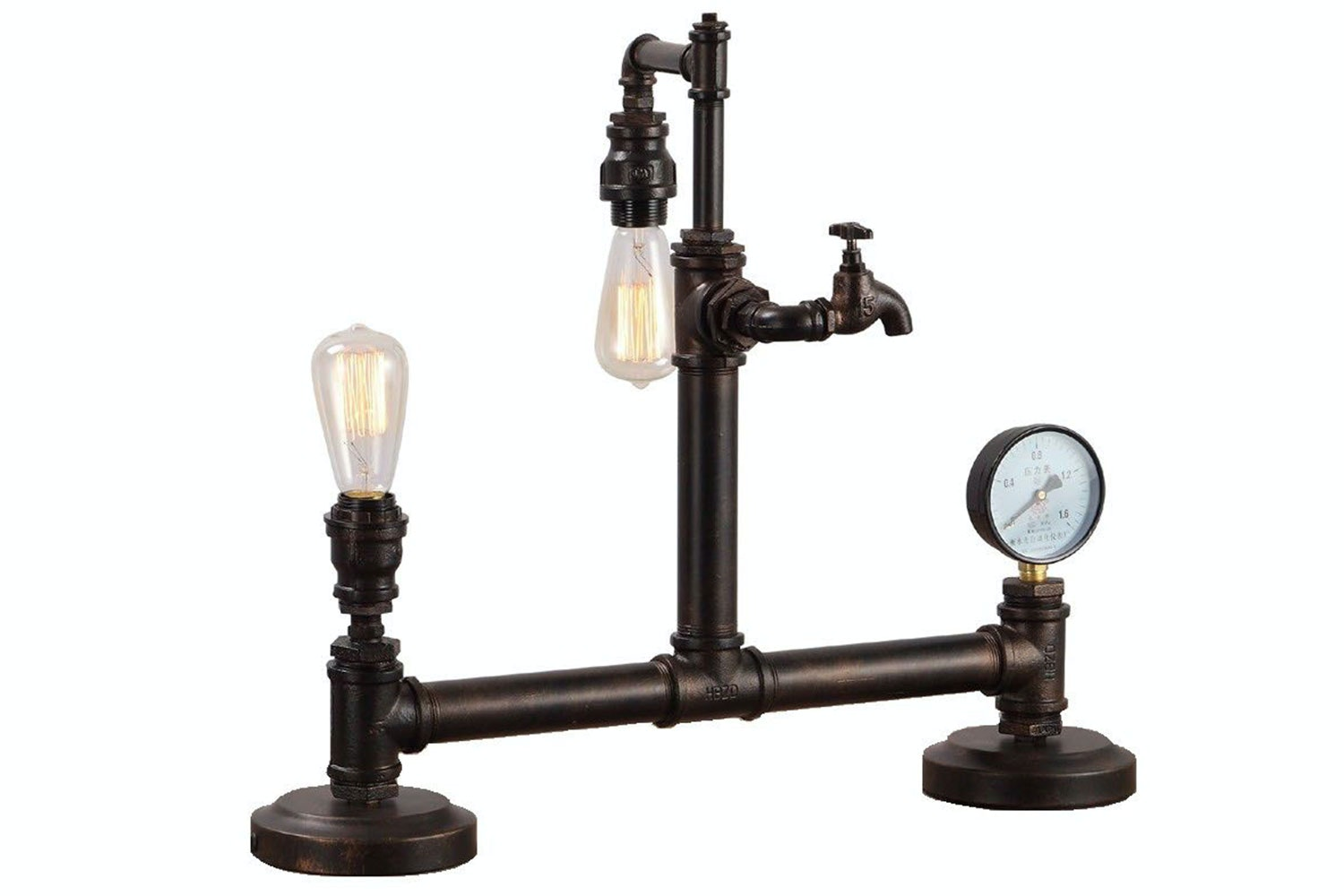Vintage Water Pipe Meter Table Lamp by Nero Furniture