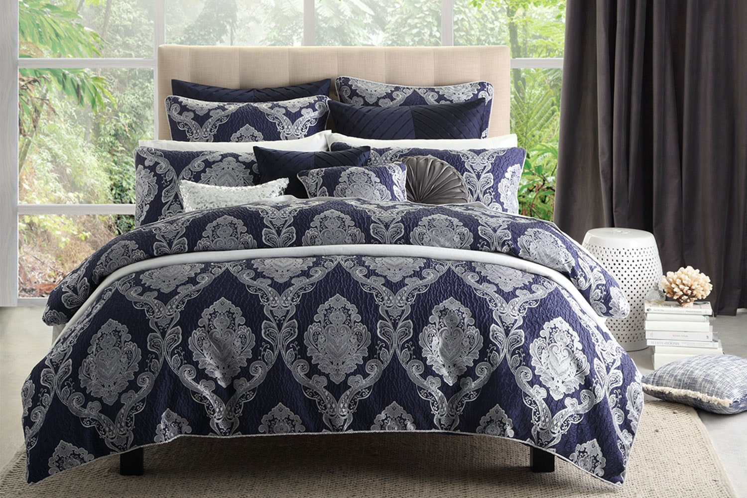 Marcella Navy Duvet Cover Set by Ultima Collection