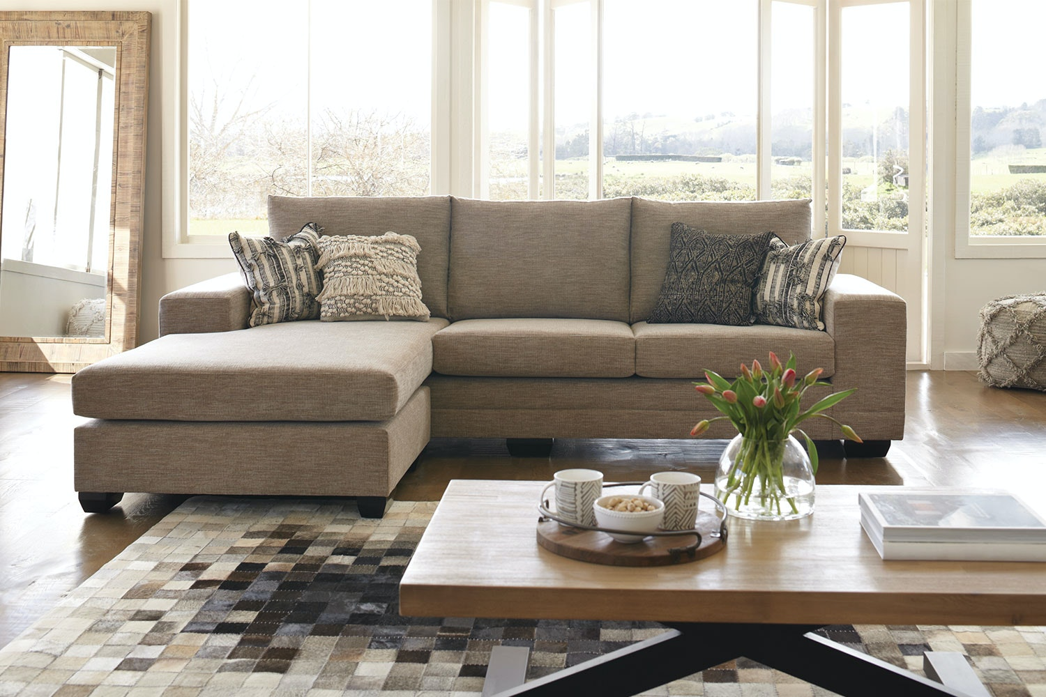 Martini 4 Seater Fabric Lounge Suite with Chaise
