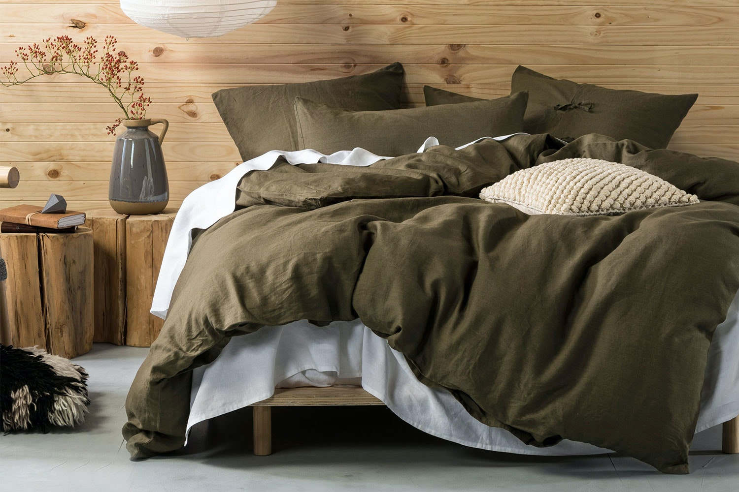 Nimes Olive Duvet Cover Set by Savona
