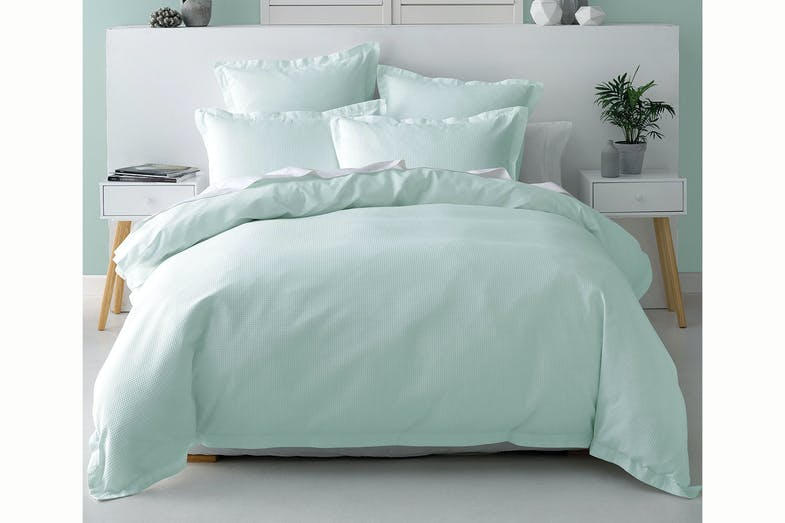 Nova Waffle Duck Egg Duvet Cover Set By Savona