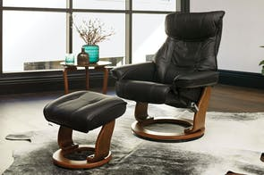 Orebro Leather Chair and Footstool by Debonaire Furniture