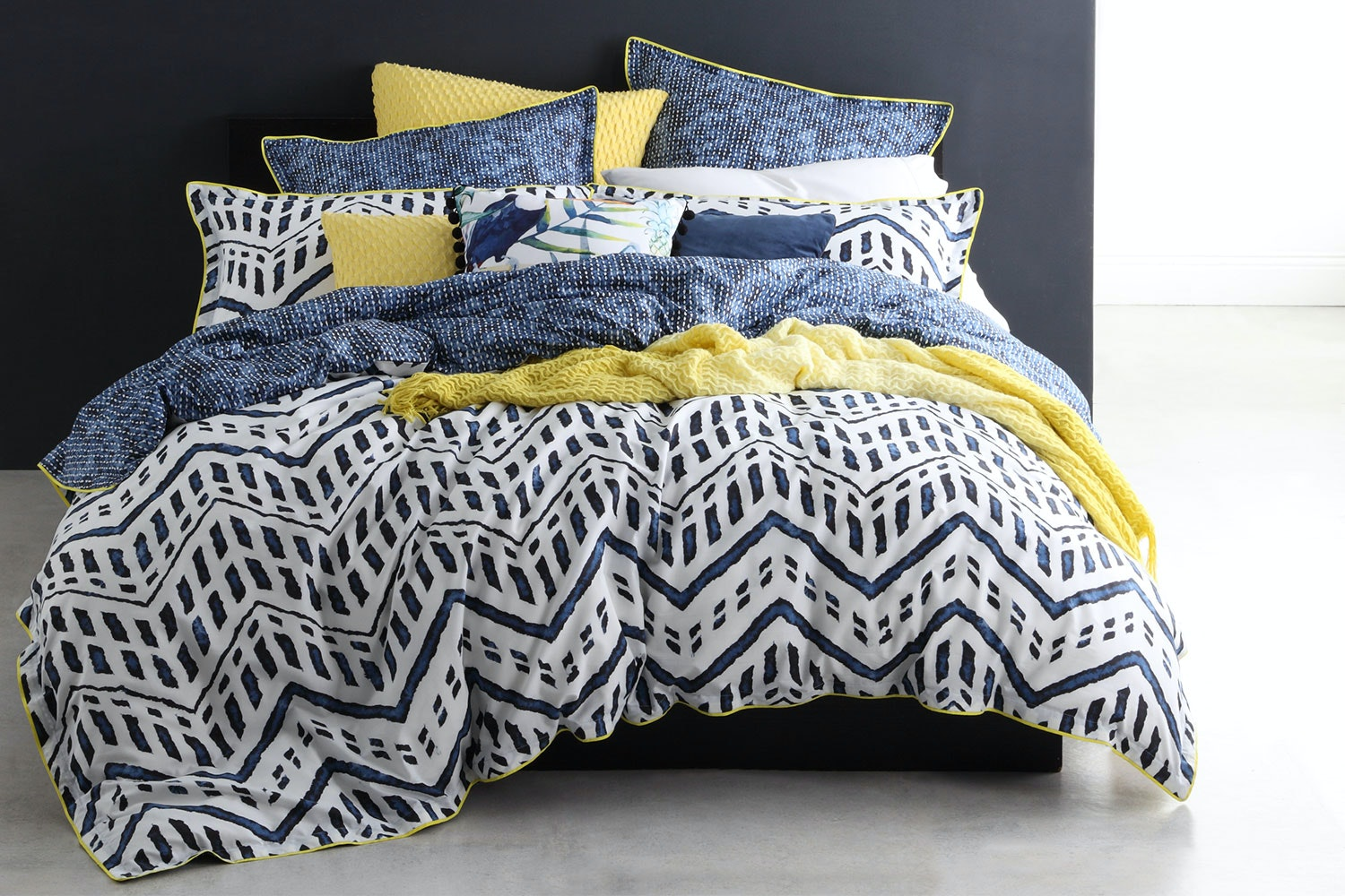 Taeo Navy Duvet Set by Logan and Mason
