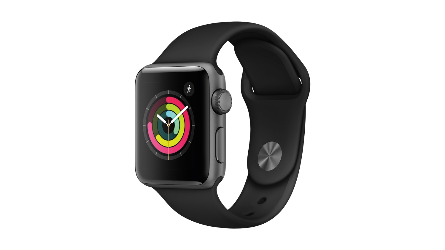 apple watch series 3  gps  38mm space grey   black sport band