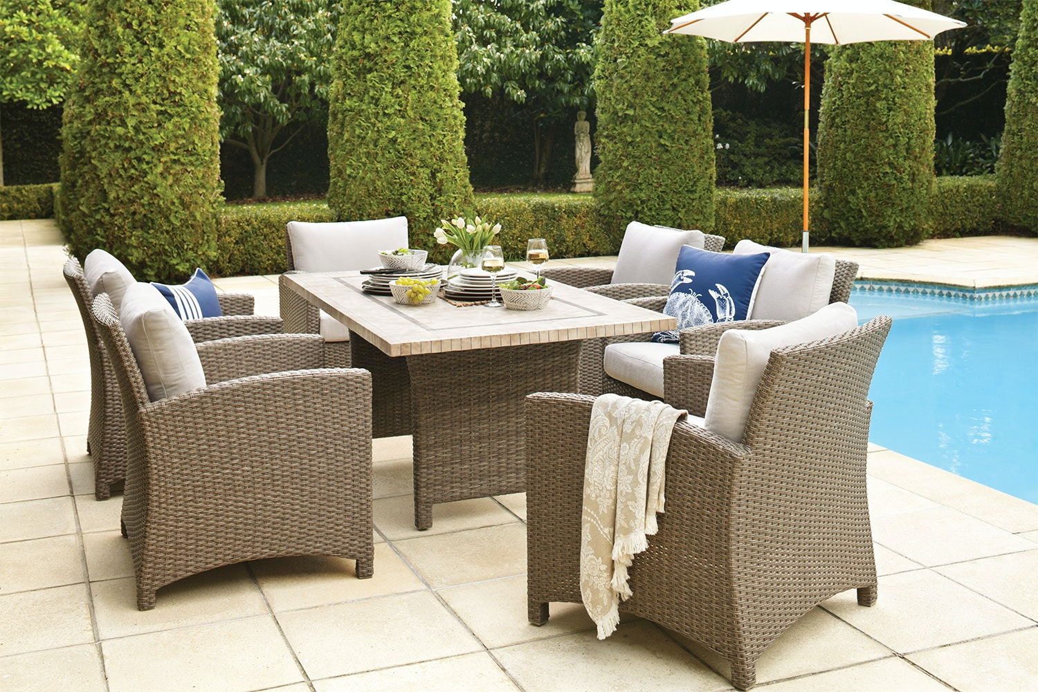 Cottage 7 Piece Outdoor Low Dining Setting